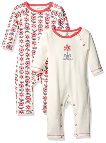 Touched by Nature Baby Organic Cotton Union Suit, 2 Pack, Flower, 0-3 Months