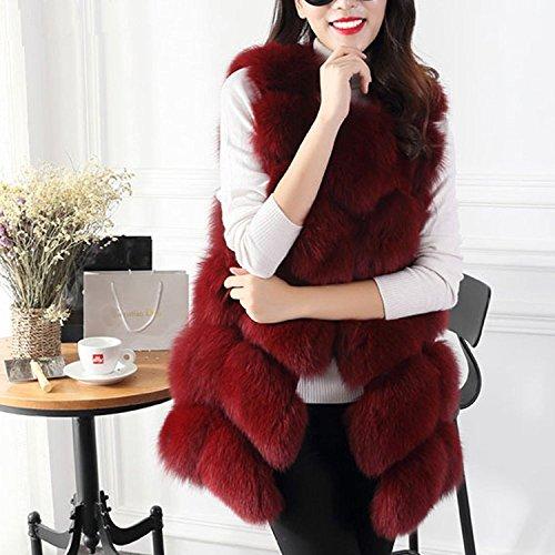Rouge Sans Tops Chaud Manteau S Gilet Faux Gilet Meedot Vin vert Cardigan manches Gris 4XL Outwear Noir Veste Vin Femmes rouge Hiver Fourrure Gilet gYpxSx4