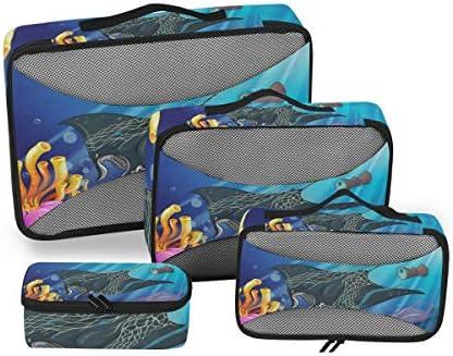 海洋環境の保護荷物パッキングキューブオーガナイザートイレタリーランドリーストレージバッグポーチパックキューブ4さまざまなサイズセットトラベルキッズレディース