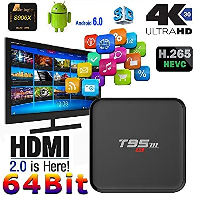 Edal T95M 4K 1G/8G Android 6.0 Marshmallow OS Amlogic S905X Pre-installed Full Loaded Smart TV Box Quad Core HDMI WIFI 3D Google Youtube Streaming Media Player