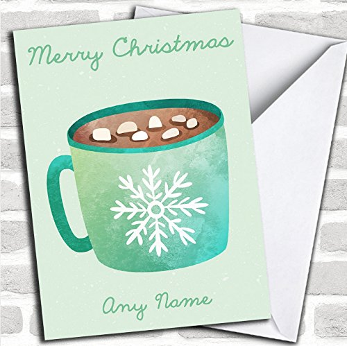 Watercolour Hot Chocolate Marshmallow Personalized Christmas Card