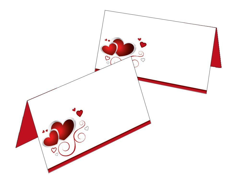 50 Tischkarten//Geschenkanh/änger rote Herzen rot//wei/ß 2523-50