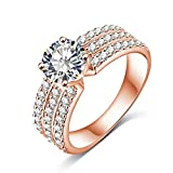 AMDXD Jewelry Rose Gold Plated Engagement Rings for Womens Big Round CZ with 3 Rows Crystal Size 8
