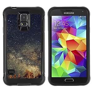 Suave TPU Caso Carcasa de Caucho Funda para Samsung Galaxy S5 SM-G900 / Stars Sky Night Tree Tops Galaxy / STRONG