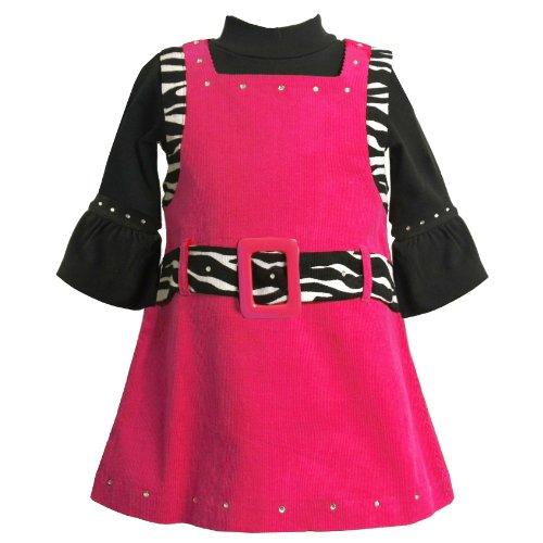 Bonnie Jean Baby Girls 12M-24M Fuchsia Belted Zebra Trim Corduroy Jumper Dress