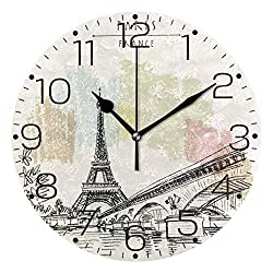 ZZAEO Vintage Sketch Paris Eiffel Tower Bridge Printed Round Acrylic Wall Clock Art Frameless Quiet Desk Clock for Kitchen Bedroom Living Room Classroom Home Decor