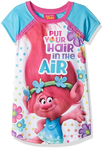 [Trolls Girls Nightgown Pajamas (8, Poppy Blue)] (Flame Hair Costume)