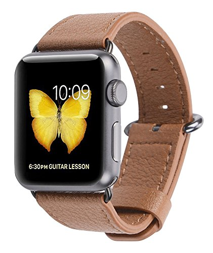 PEAK ZHANG Apple Watch Band 42mm Genuine Leather Replacement Wrist Strap with Stainless Metal Adapter Clasp for Iwatch Series 2,Series 1,Sport,Edition