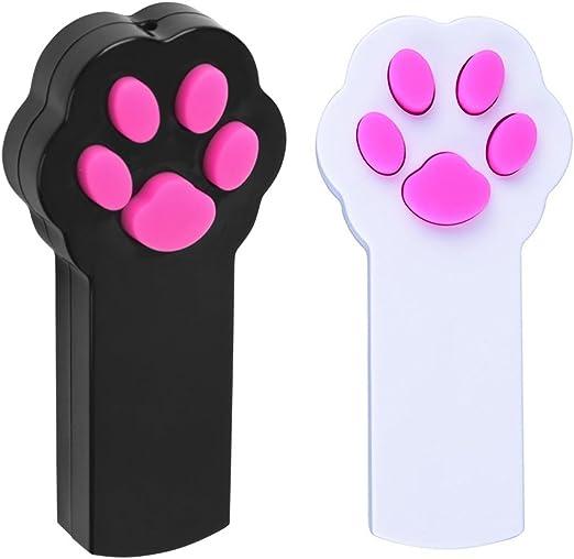 pipitao mascota interactiva LED luz puntero arañazos Herramienta de formación, diseño de huella, color rojo (Catch ejercicio Chaser juguete regalos para perros y gatos, pack de 2 (negro + blanco): Amazon.es: Productos