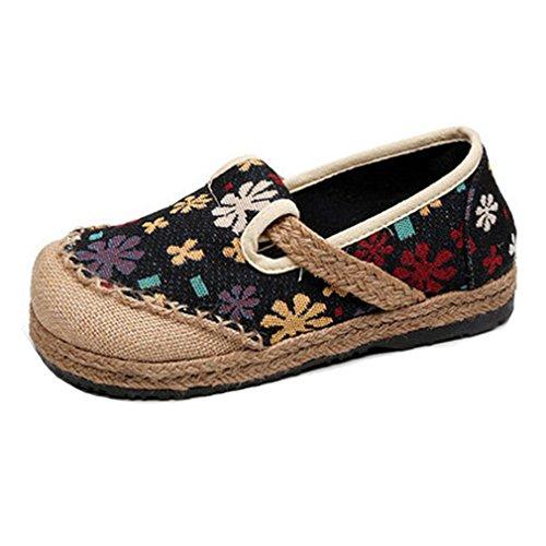 Giy Kvinners Loafers Flat Moccasin Eksotiske Slip-on Rund Tå Lin Blomster  Dress Casual Oxford