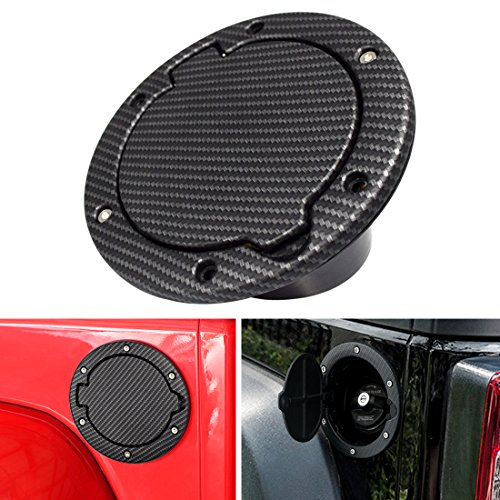 IPARTS Black Carbon Fiber Steel Gas Fuel Tank Cap Cover for Jeep Wrangler JK JKU Unlimited Rubicon Sahara X Off Road Sport Exterior Accessories Parts 2007-2017