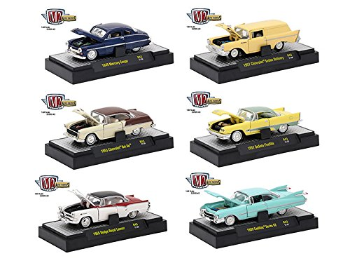 Auto Thentics 6 Piece Set Release 43 IN DISPLAY CASES 1/64 by M2 Machines 32500-43 (1955 Cadillac Series 62)