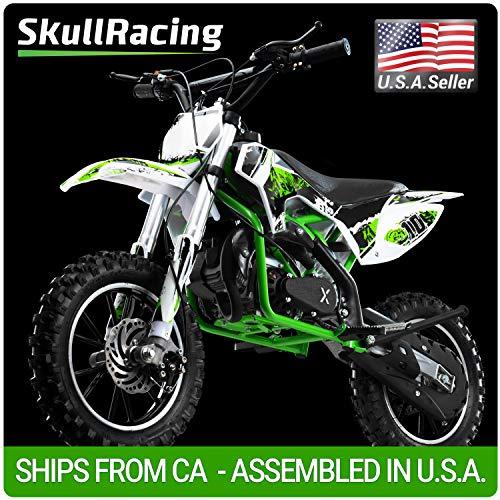 SkullRacing Gas Powered Mini Dirt Bike Motorcycle 50RR (Green) ()