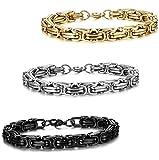stainless steel bracelet men - Jstyle 3 Pcs 8mm Stainless Steel Byzantine Bracelet for Men Chain Link 8.5 Inch