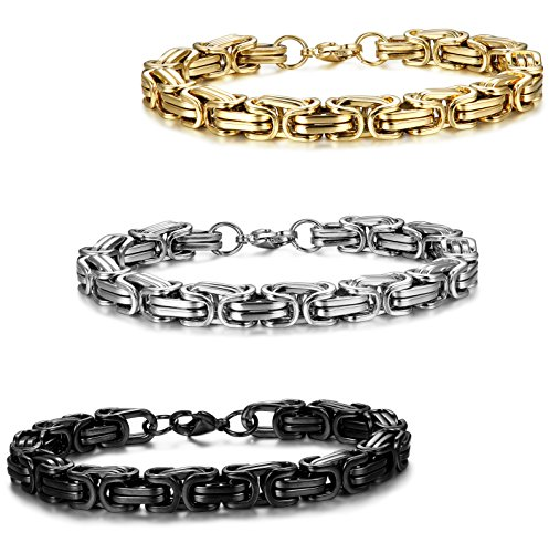 Jstyle 3 Pcs 8mm Stainless Steel Byzantine Bracelet for Men Chain Link 8-9 Inch
