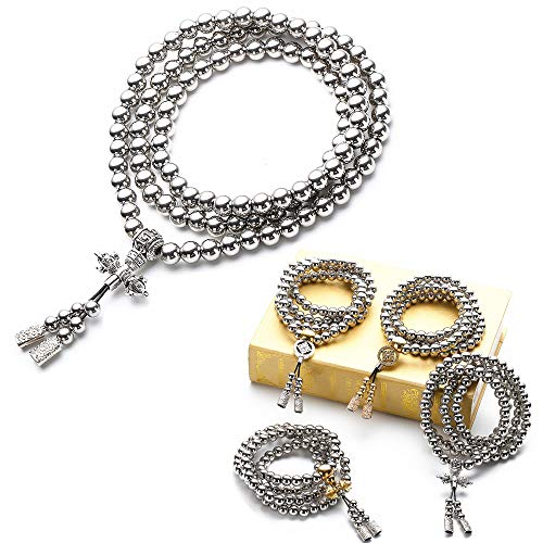RedKing 108 Stainless Steel Beads Necklace Mala Beads Prayer Beads Buddha Beads Necklace Men's Stainless Steel Bracelet Chain Car Decoration Pendant Gifts for Men (B)