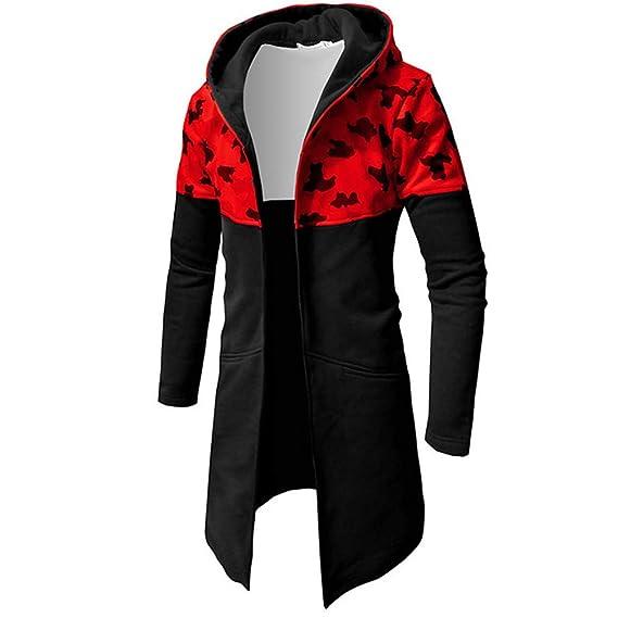 iLXHD Casual Print Zipper Hooded Long Sleeve Slim Top Blouse Jacket Coat at Amazon Mens Clothing store: