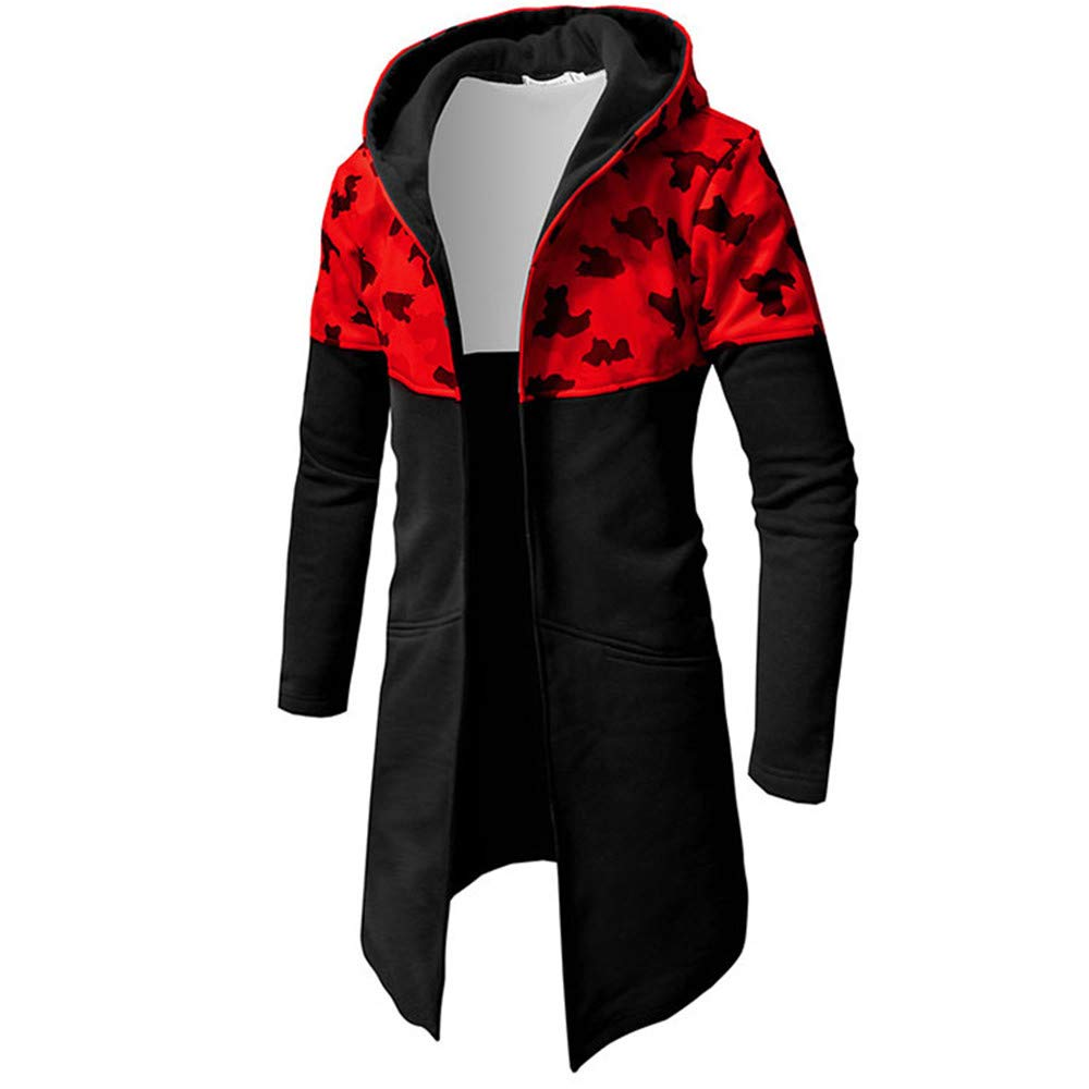 Forthery Clearance Men's Trench Coat with Hood Winter Camouflage Zipper Jacket Overcoat Cardigan(Red, US Size L = Tag XL)