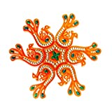 Handicraft Designer Rangoli - Jewel Stone Decorations and Silver, Green, Red Accents on Amber Acrylic Base - 10 inch dia - 7 piece set - packed in crystal box