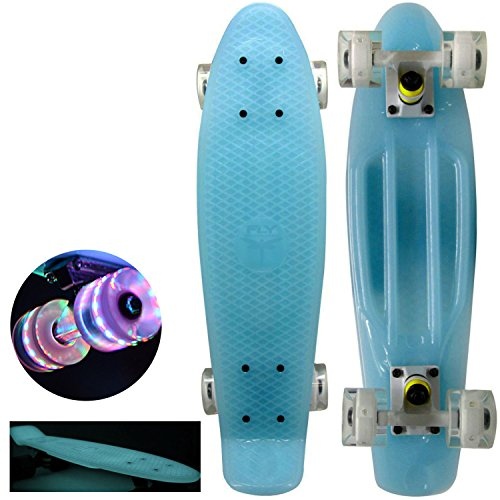 "Brand new ""Blue"" with Unique Fun Wheels 22″ Mini Retro Cruiser Skateboard – Complete Board, Same Day Handling"