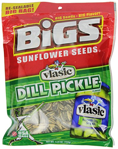 BIGS Vlasic Dill Pickle Sunflower Seeds, 5.35-Ounce Bags (Pack of 12) - Bigs Dill Pickle Sunflower Seeds