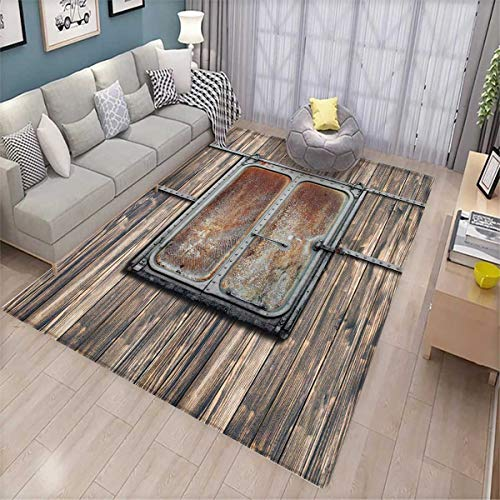 Rustic Area Rugs for Bedroom Wooden Tree Planks with Old and Rusty Two Angled Boat Door Image Artwork Print Door Mats for Inside Brown and Grey