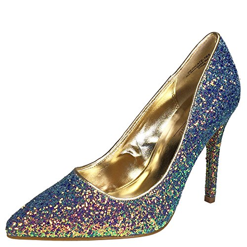 Anne Michelle Women's Pointy-Toe Dress Heel Plain Pump In Glitter, Blue Glitter, 10.0 B (M) (Anne Michelle Pumps)