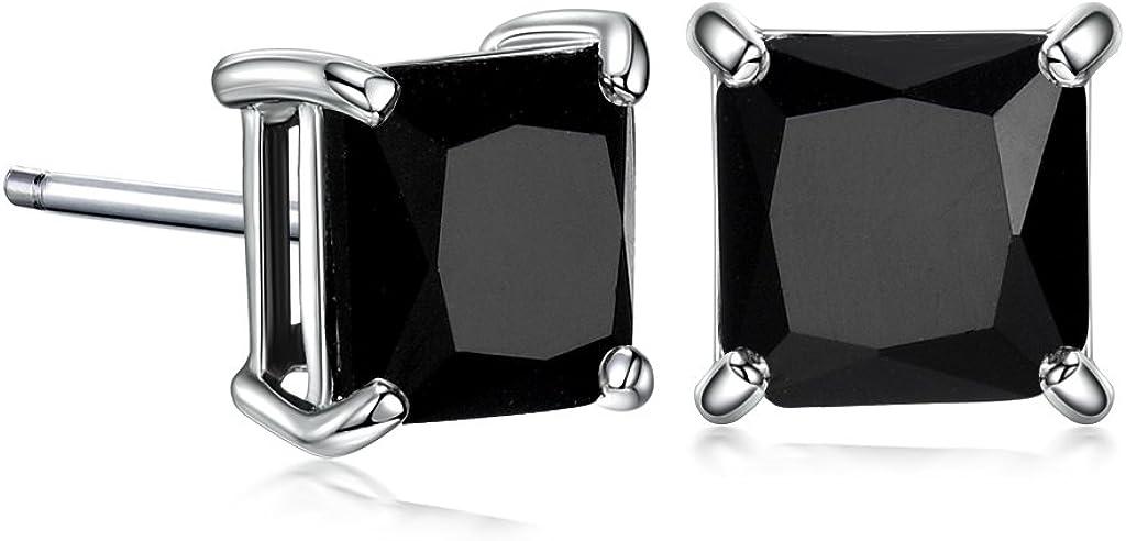 GULICX 7mm Negro Piedra Diamante CZ Square Oro Blanco galvanizado/925plata de ley pendientes hombres mujeres