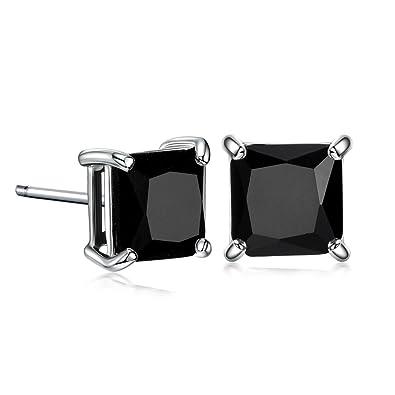 48fec81d358ff GULICX Silver Tone 7mm Square CZ Party Pierced Earrings Studs Purple Unisex
