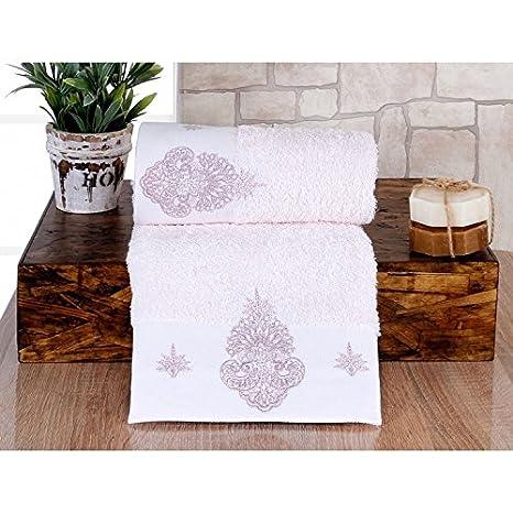 Serra Home Hotel y Spa Matilda rosa bordado toalla 50 x 90 suave algodón turco toalla