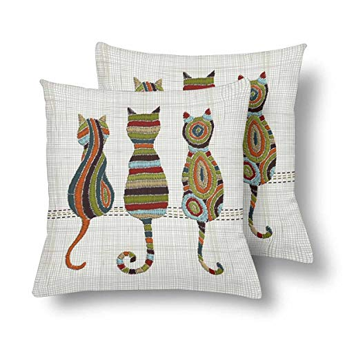 a PIN Embroidery Cats Zentangle Style Colorful Tradition Folk Decoration Throw Pillow CoversSet of 2, Pillow Cushion Cases Pillowcase for Home Couch Sofa Bedding Decorative (45.72cm x 45.72cm)
