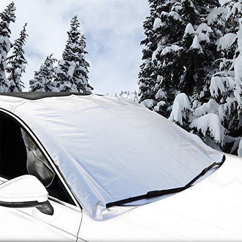 ZATAYE Car Snow Cover,Frost Car Windshield Snow Cover,Frost Guard Protector,Ice Cover,Car Windsheild Sun Shade,Ultra Durable Weatherproof Design Most Cars/SUV,NO Paint Scratching Hood Magnets