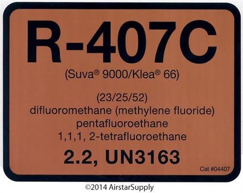 DiversiTech R-407C / R407C Refrigerant Labels # 04407 Col...