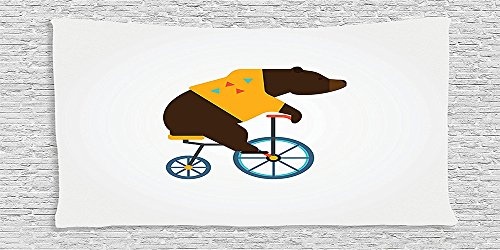 [Cotton Microfiber Bathroom Towels Ultra Soft Hotel SPA Beach Pool Bath Towel Bicycle Big Teddy Bear Icon of Circus Riding Bicycle with Trendy Hipster Costume Animal Image Brown] (Real Godzilla Costume)