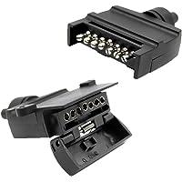 HOMYL Pair 7 Pin 12V Flat Trailer Plug and Socket Trailer Light Connectors for Car Truck RV