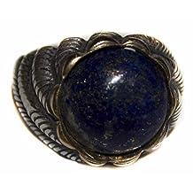 Sterling silver men ring handmade, lapis-lazuli natural stone, Express Shipping