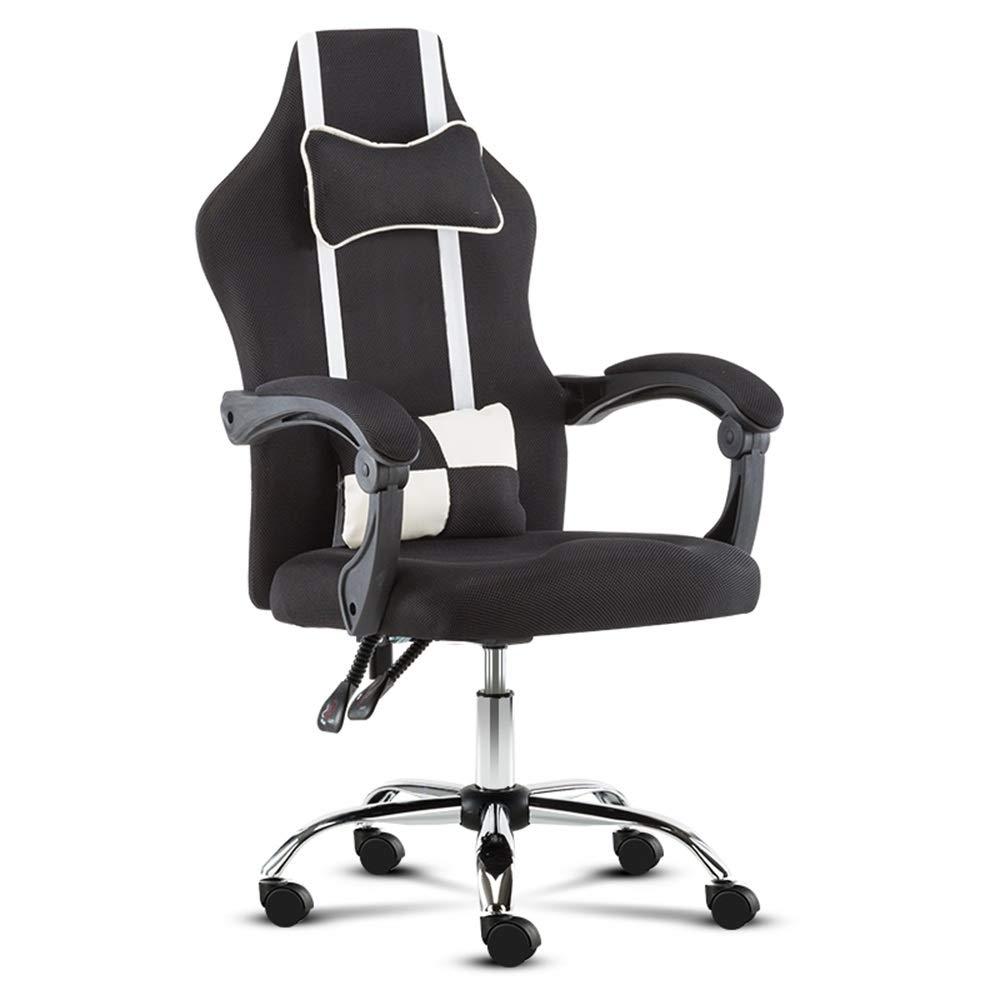 XRXY 事務用椅子、 回転チェア、ボス席リフトオフィスコンピュータチェア - ランバーサポート、ロッカーヘッドレスト付き、シート高調整、5色 タスクチェア (色 : ブラック, サイズ さいず : Without footrest) Without footrest ブラック B07QHG5Y5L