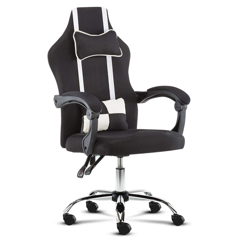 ZZHZY Swivel Office Chair, Boss Seats Lifting Office Computer Chair - with Lumbar Support and Rocker Headrest and Seat Height Adjustment, 5 Colors Task Chair (Color : Black, Size : Without footrest)
