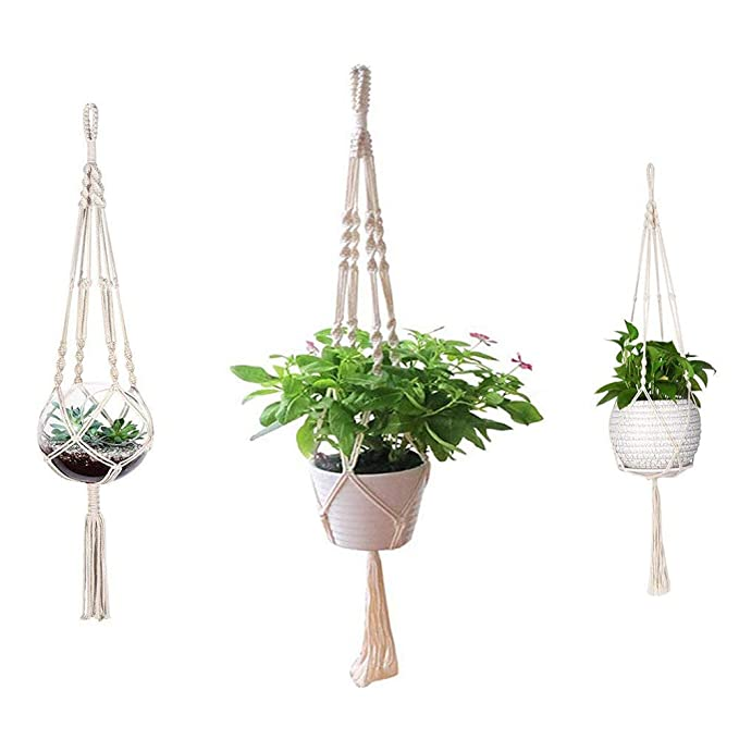 Macrame Plant Hanger,ADSRO 3 PackHandmade Hanging Basket Flower Pot Indoor Outdoor Cotton Rope 4 Legs for Decoration 26in//36in//41in
