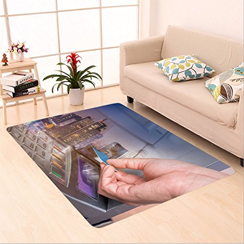 Sophiehome skid Slip rubber back antibacterial Area Rug double exposure of hand inserting atm card into bank machine to withdraw money with city night 510721687 Home Decorative
