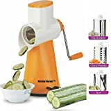 Kitchen Bazaar Premium Drum Grater Shredder Slicer With 3 Stainless Steel Blades, Orange
