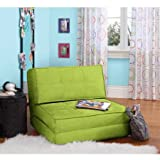 Your Zone Flip Chair Easily Converts Into a Bed - Ultra Suede Material (Green Glaze)