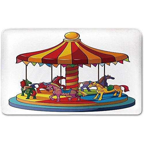 Memory Foam Bath Mat,Kids,Cartoon Carousel Horses Merry Go Round Amusement Park Roundabout Playground DecorativePlush Wanderlust Bathroom Decor Mat Rug Carpet with Anti-Slip Backing,