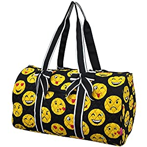 Amazon.com : Emoji Faces Print NGIL Large Quilted Duffle Bag ... : quilted duffle bags - Adamdwight.com