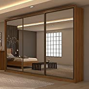 Guarda Roupa Casal com 3 Espelhos 3 Portas de Correr 6 Gavetas Spazio Super Glass Móveis Lopas Rovere Naturale