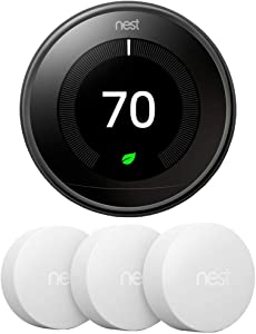 Google Nest T3018US Learning Thermostat 3rd Gen Smart Thermostat, Mirror Black Bundle with 3-Pack Temperature Sensor