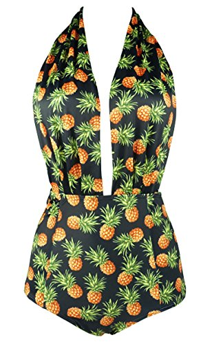 799d562434d2b9 COCOSHIP Black & Pineapple Print Retro One Piece Backless Bather Swimsuit  Pin Up Swimwear Maillot XL(FBA) (B071VH4D4F) | Amazon price tracker /  tracking, ...