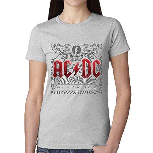 Ac Dc Black Ice Women T Shirt Grey (Roman Head Wear)