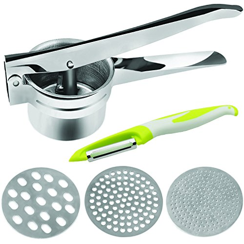 Multi-functional Potato Ricer Masher and Vertical Vegetable Fruit Peeler - Stainless Steel Baby Food Press Juicer Strainer with 3 Interchangeable Fineness Discs (Fine Medium Coarse)