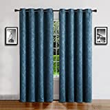 "Warm Home Designs 1 Panel of Blue Teal Color 54"" (Width) by 84"" (Length) Textured Blackout Curtains with Embossed Flower Pattern. Insulated Drapes are Great for Privacy & Noise Reduction. EV Teal 84"